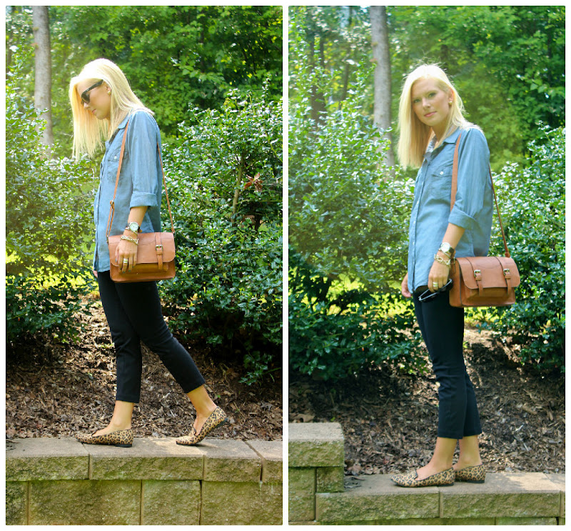 "f4feceb02a7f Denim + Leopard Print Loafers. I love a good comfy outfit, but I typically  try to still look put together. This is that ""comfy cute"" outfit for me."
