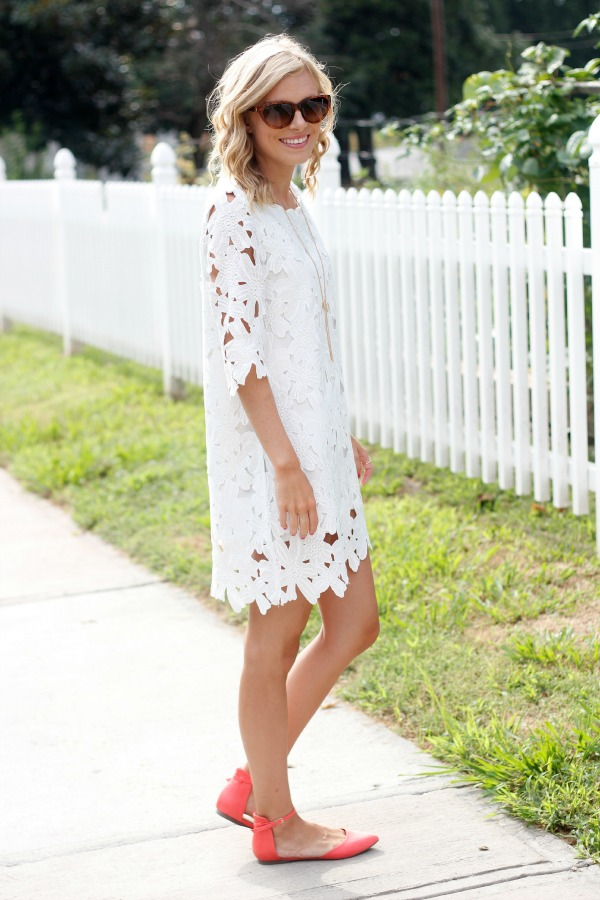 White lace dress black shoes