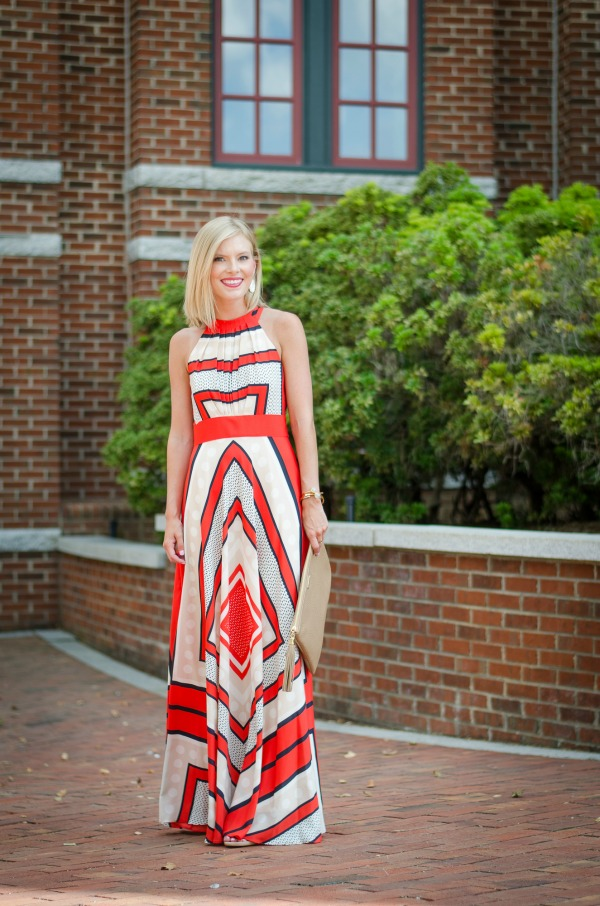 Red and white maxi dress
