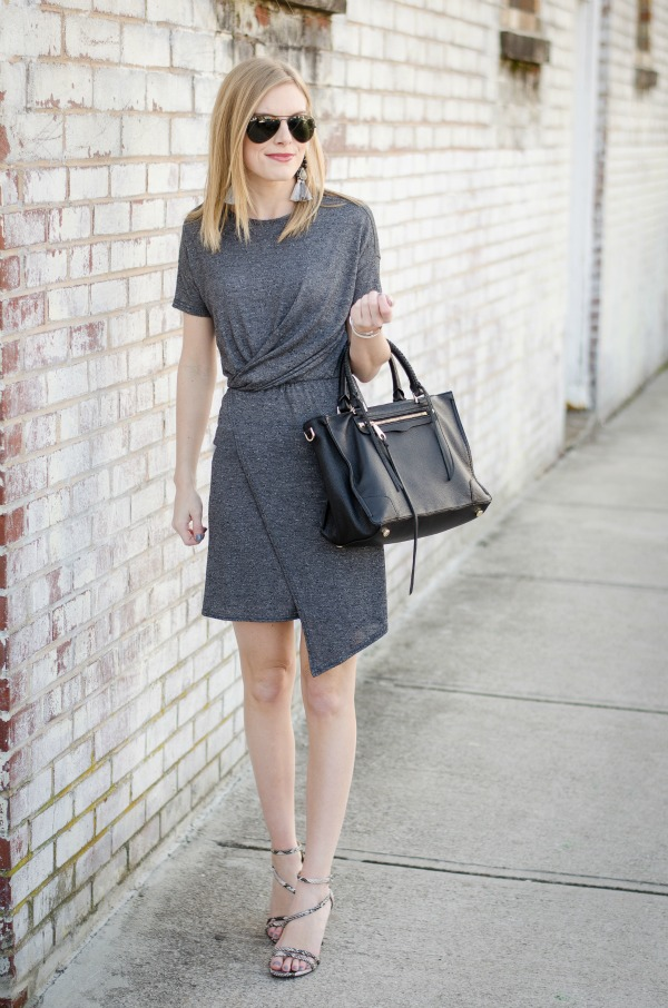 gray wrap dress