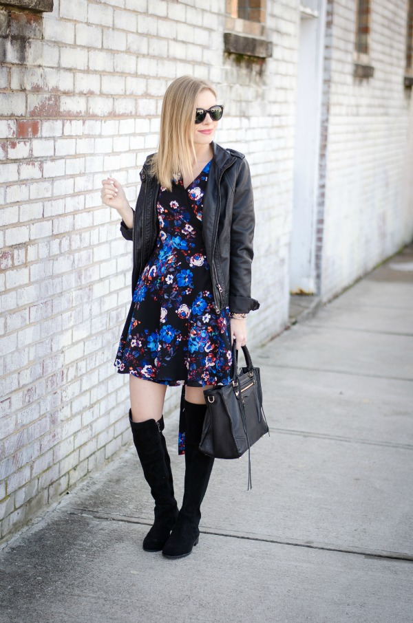 styling a wrap dress with a leather jacket