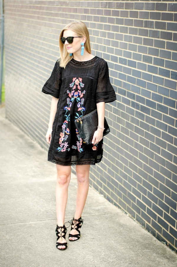 black free people embroidered dress