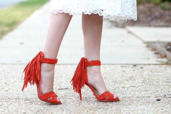 2976bda78df ... White lace Asos Midi Dress 7 Nine West Fringe Heels nine west hustle  fringe heels