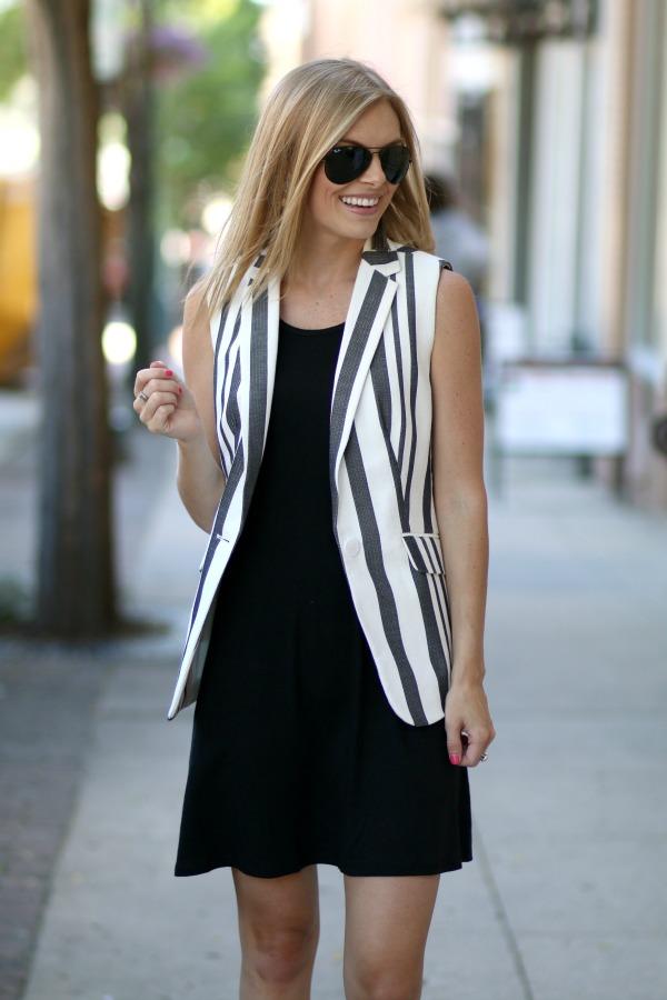 Talbots Striped Sleeveless Blazer 4