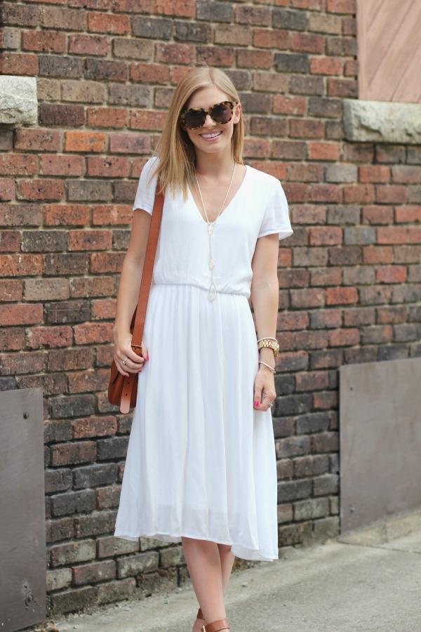 10c94bb86891 WAYF Blouson Midi Dress White 8