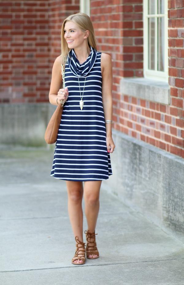 nordstrom anniversary sale striped cowlneck dress 1