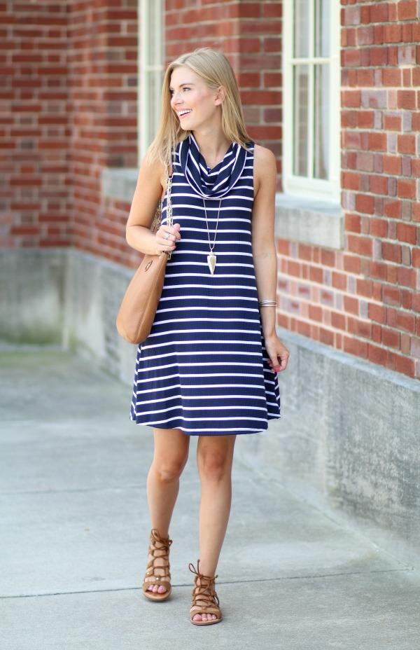 nordstrom anniversary sale striped cowlneck dress 4