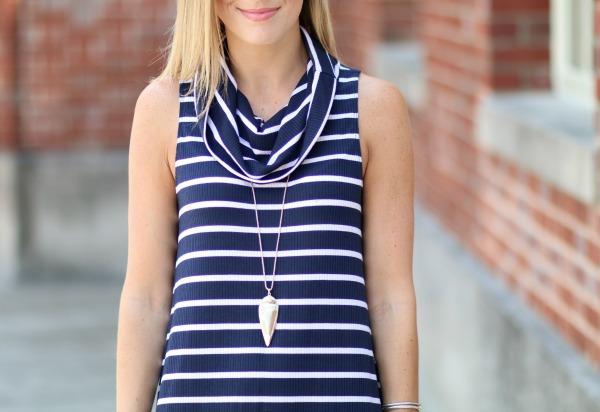 nordstrom anniversary sale striped cowlneck dress 8