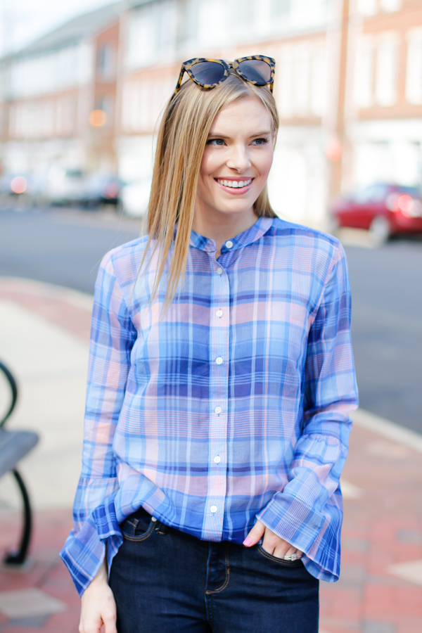 Plaid Bell Sleeve Top Life With Emily