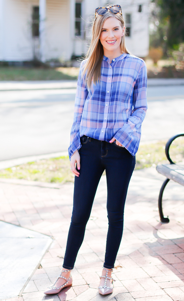 loft plaid bell sleeve top