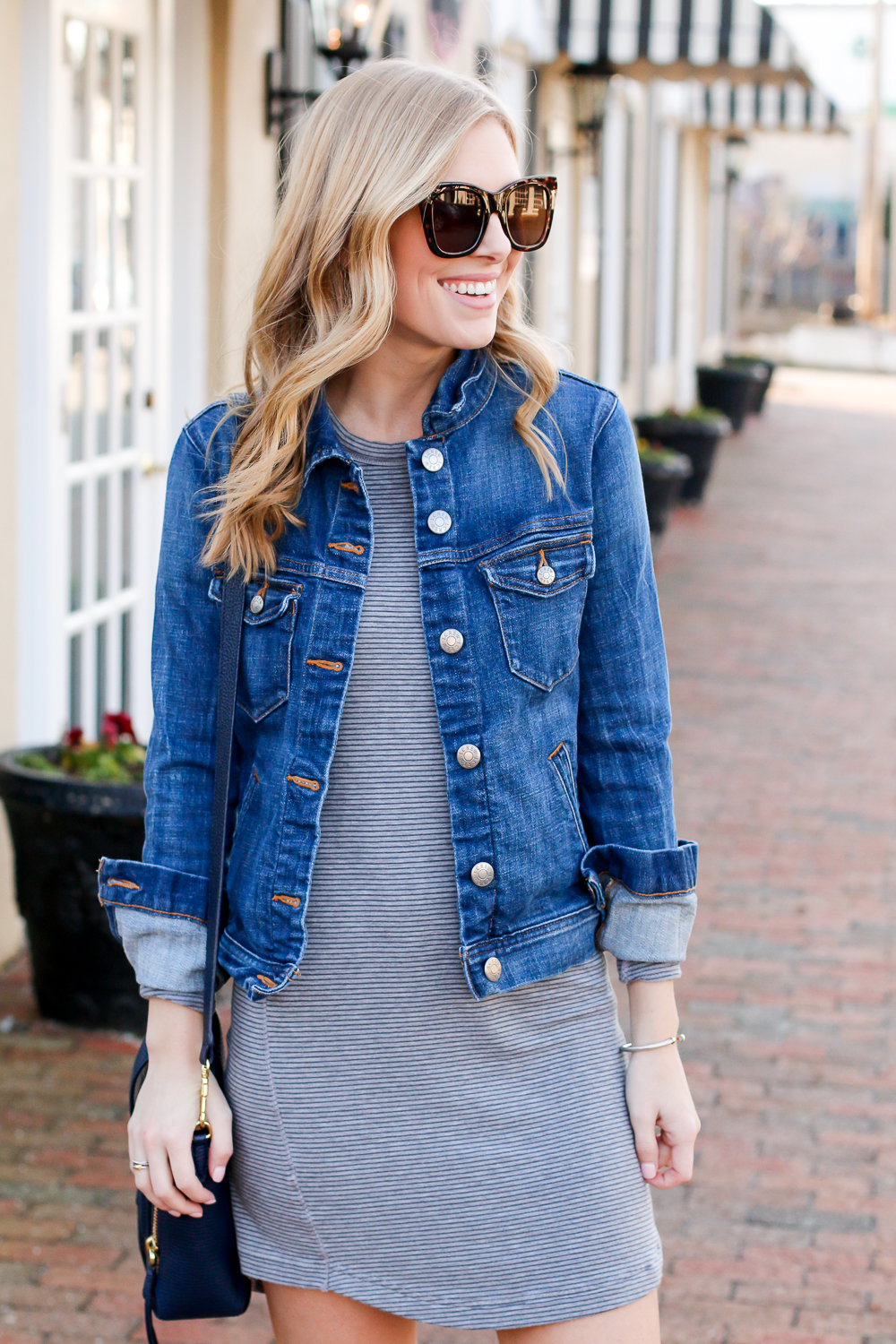 a919fefbe01 LOU & GREY STRIPED DRESS | J.CREW DENIM JACKET | ADIDAS STAN SMITH SNEAKERS  | PHILLIP LIM MINI PASHLI BAG | TIFFANY & CO PEARL EARRINGS (SIMILAR HERE)  ...