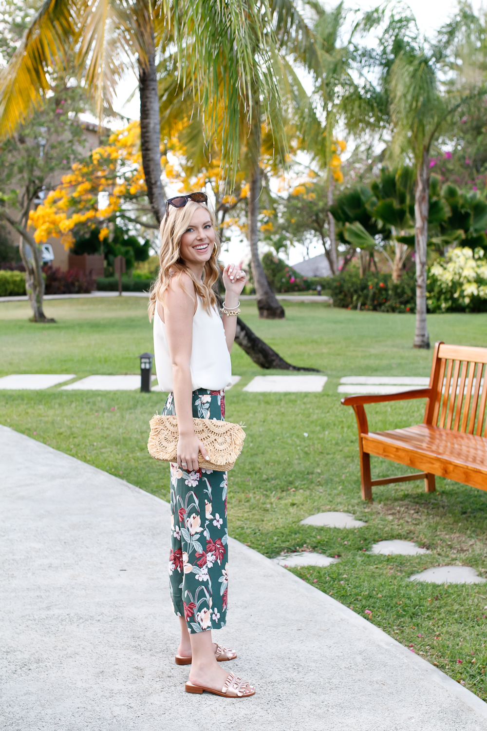 loft tropical wide leg pants