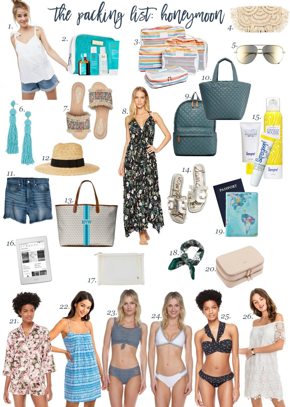 honeymoon packing list
