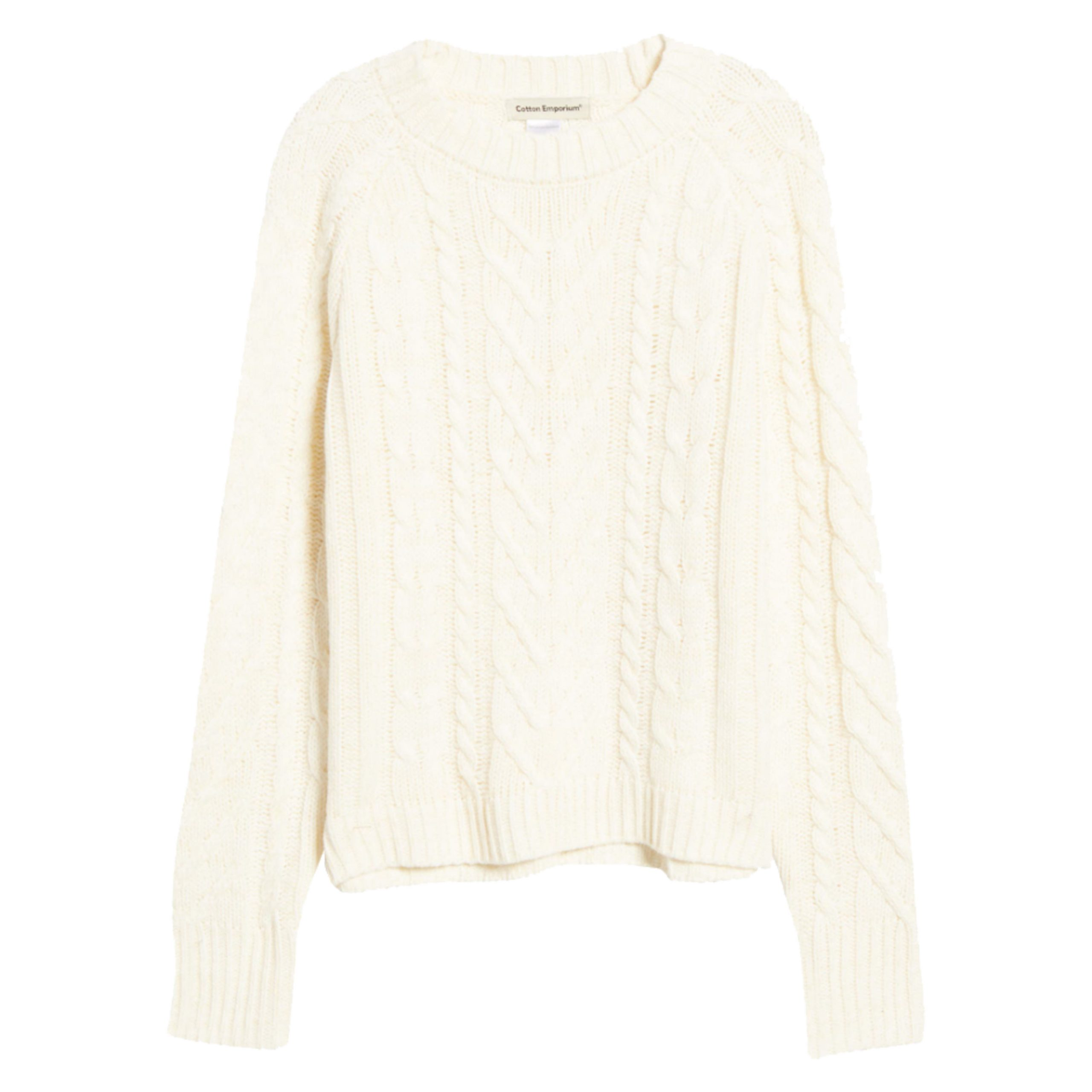 a classic cable knit sweater